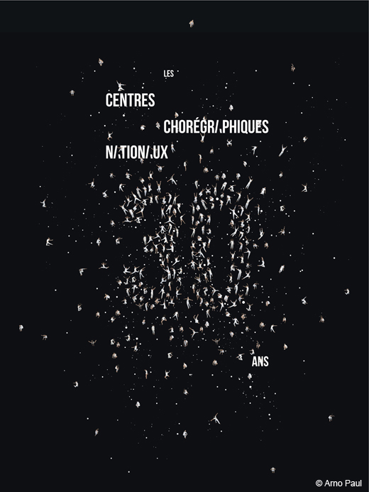 Visuel des 30 ans des CCN, fêtés au Théâtre National de Chaillot