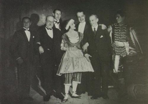 1929 - Sur cette photo, Tamara Karsavina, Serge Diaghilev, Vaslav Nijinski et Serge Lifar
