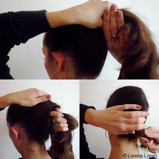 La torsade du sommet du crâne vers la nuque