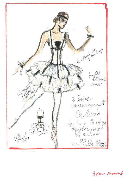 Croquis des costumes de Brahms-Schönberg Quartet de George Balanchine