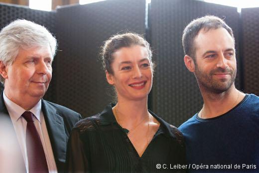 Stéphane Lissner, Aurélie Dupont et Benjamin Millepied lors de la conférence de presse du 4 février